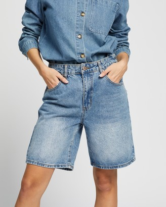 Cotton On Women's Blue Denim - Longline Denim Bermuda Shorts - Size 8 at The Iconic