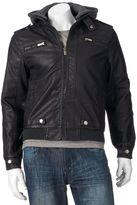 X-Ray Men's XRAY Slim-Fit Faux-Leather Hooded Jacket