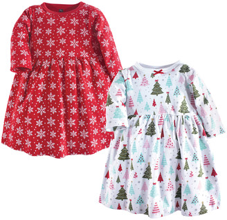 Luvable Friends Girls' Casual Dresses Sparkle - Red & White Sparkle Tree Babydoll Dress - Newborn, Infant & Toddler
