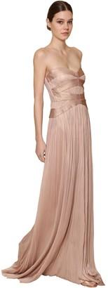 Maria Lucia Hohan Long Strapless Metallic Silk Tulle Dress