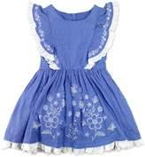 Nannette Girls 4-6x Nanette Embroidered Swiss Dot Dress