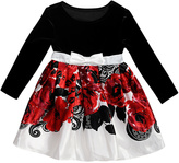 Youngland Black & Red Floral A-Line Dress - Toddler & Girls