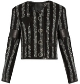 Alexander Wang Leather-trimmed striped tweed cropped jacket