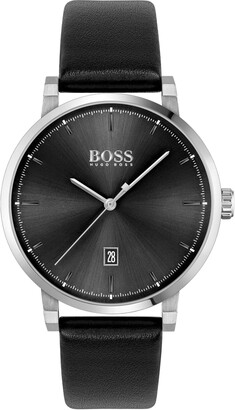 HUGO BOSS Confidence Leather Strap Watch, 42mm