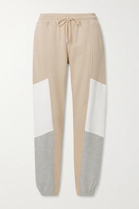 Ninety Percent Color-block Organic Cotton-jersey Track Pants - Beige