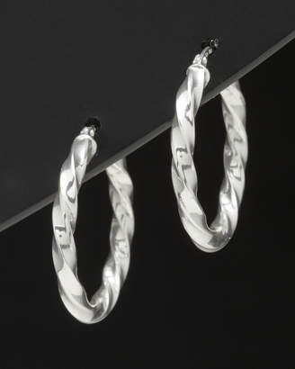 Italian Silver Round Twisted Hoops