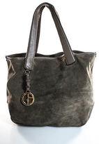 Giorgio Armani Brown Leather Open Top One Pocket Shoulder Handbag