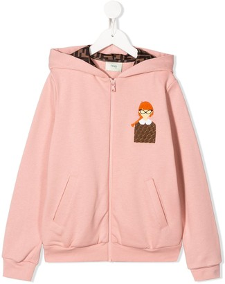 Fendi FF motif zipped hoodie