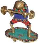 "Surya VZI263 ""Frog Figure Lifting Dumbell"" Decorative Statue"