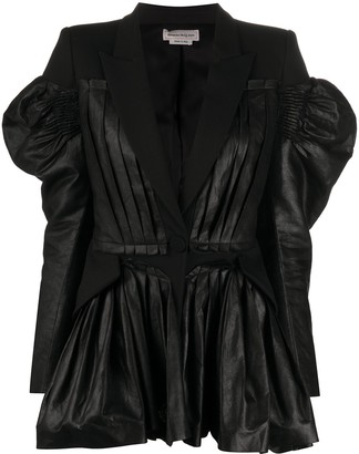 Alexander McQueen Exaggerated Sleeved Detail Fitted Jacket