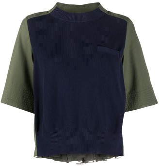 Sacai Contrast-Panel Flared Top