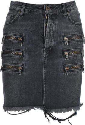 Taverniti So Ben Unravel Project Unravel Zip-detail Distressed Denim Skirt
