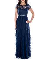 Decode 1.8 Lace-Bodice Tiered Ruffle Gown