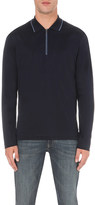 Canali Contrast cotton-jersey polo shirt