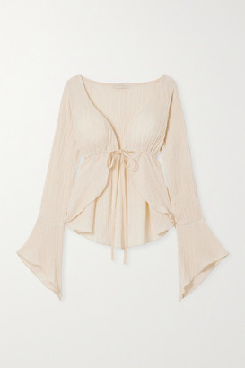 Savannah Morrow The Label - The Flow Tie-front Crinkled Organic Cotton-gauze Top - Cream