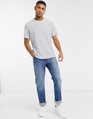Topman stripe t-shirt in blue and white
