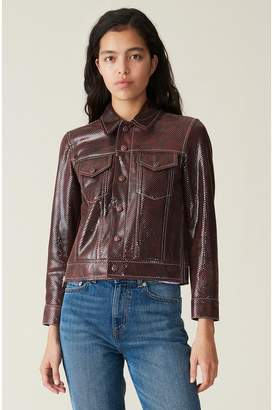 Ganni Snake Foil Leather Jacket