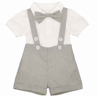 Ibtom Castle Baby Boys 3Pcs Christening Outfit Gentleman Bowtie Shirt Top Suspenders Strap Shorts Formal Kids Party Outfit Clothing Sets Grey 6-12 Months