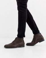 faux leather desert boots in brown