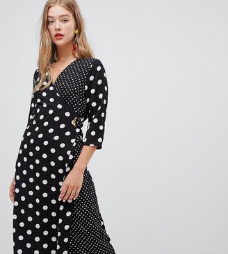 New Look mixed spot midi dress in black pattern