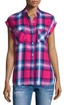 Rails Britt Plaid Cap-Sleeve Shirt, Barry/Navy