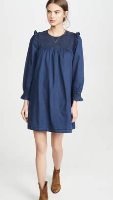 Madewell Indigo Ruffle Neck Smocked Babydoll Dress