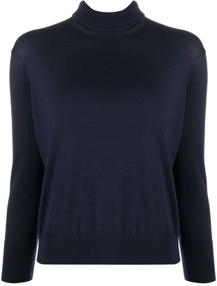 Loro Piana Buttoned Knit Roll Neck Top
