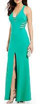 Sequin Hearts Jewel Trim Plunging V-Neck Open-Back Long Dress