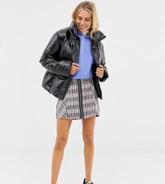 Stradivarius check zip front mini skirt
