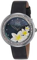 Burgi Women's BUR116BK Diamond & Crystal Accented Mother-of-Pearl Flower Design Dial Black Silk over Leather Strap Watch