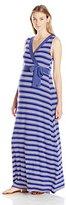Three Seasons Maternity Women's Sl Surplice Stripe Maxi Dress