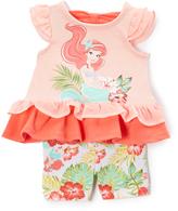 Children's Apparel Network Disney Princess Ariel Peach Ruffle Tunic & Shorts - Infant