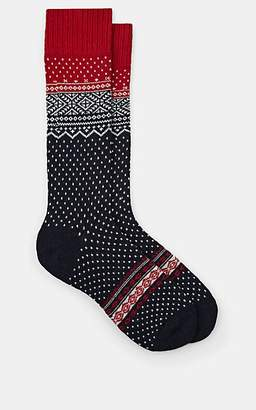 Barneys New York MEN'S POLKA DOT FAIR ISLE CASHMERE-BLEND MID-CALF SOCKS - NAVY