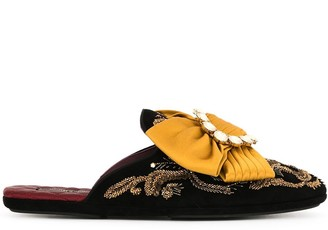 Dolce & Gabbana Embroidered Bow-Detail Slippers