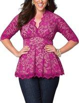 AMZ PLUS Women Plus Size Sexy Lace V-neck Empireline Pleated Top Shirt 2XL