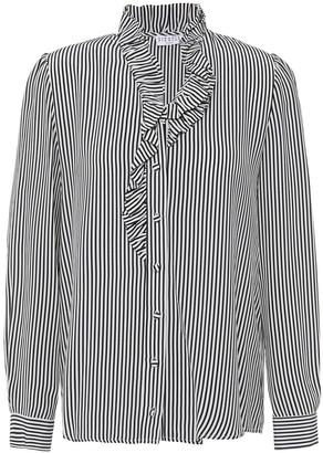 Claudie Pierlot Ruffled Stripe Crepe De Chine Shirt