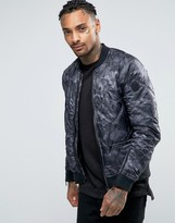 Replay Camo Lightweight Quilted Bomber Jacket