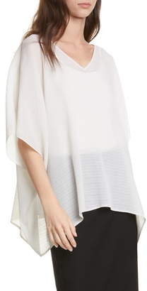 Eileen Fisher Plisse Recycled Polyester Poncho Top
