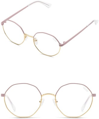 Quay Eclectic 48mm Round Geo Blue Light Glasses