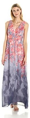 Sangria Women's Sleevless V-Neck Floral Maxi