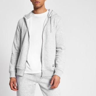 River Island Prolific grey marl zip up front slim hoodie
