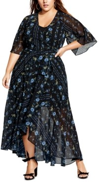 City Chic Trendy Plus Size High-Low Maxi Wrap Dress