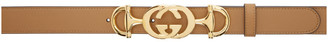Gucci Taupe Horsebit Logo Belt