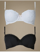 M&S Collection 2 Pack Embroidered Padded Push Up Bra A-E
