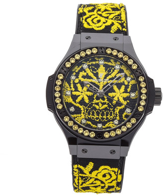 Hublot Black/Yellow Ceramic And Yellow Sapphire Bezel Big Bang Broderie Sugar Skull Fluo Sunflower343. CY.6590.NR.1211 Women's Wristwatch 41 MM