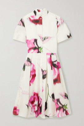 Carolina Herrera Pleated Floral-print Silk-organza Midi Dress - White