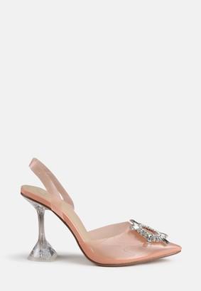 Missguided Nude Diamante Feature Slingback Heels