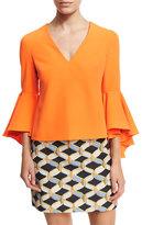 Milly Nicole Bell-Sleeve Italian Cady Blouse, Orange