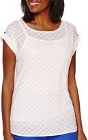 Liz Claiborne Short-Sleeve Extended-Shoulder Burnout Knit Top