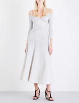 Alexander McQueen Sweetheart off-the-shoulder knitted maxi dress